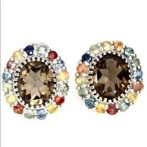 Jewelry - Natural Smokey Quartz Fancy Sapphire Earrings